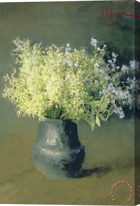 Isaak Ilyich Levitan Wild Lilacs And Forget Me Nots Stretched Canvas Print / Canvas Art