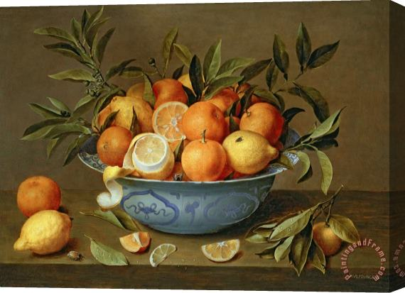 Jacob van Hulsdonck Still Life with Oranges and Lemons in a Wan-Li Porcelain Dish Stretched Canvas Print / Canvas Art