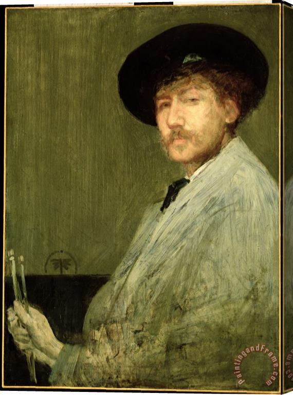 James Abbott McNeill Whistler Arrangement in Grey - Portrait of the Painter Stretched Canvas Print / Canvas Art