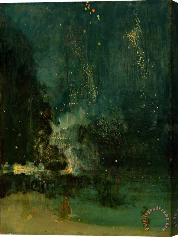 James Abbott McNeill Whistler Nocturne in Black and Gold - the Falling Rocket Stretched Canvas Print / Canvas Art