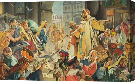 James Edwin McConnell Jesus Removing the Money Lenders from the Temple Stretched Canvas Print / Canvas Art