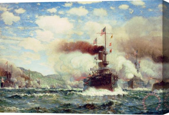 James Gale Tyler Naval Battle Explosion Stretched Canvas Print / Canvas Art