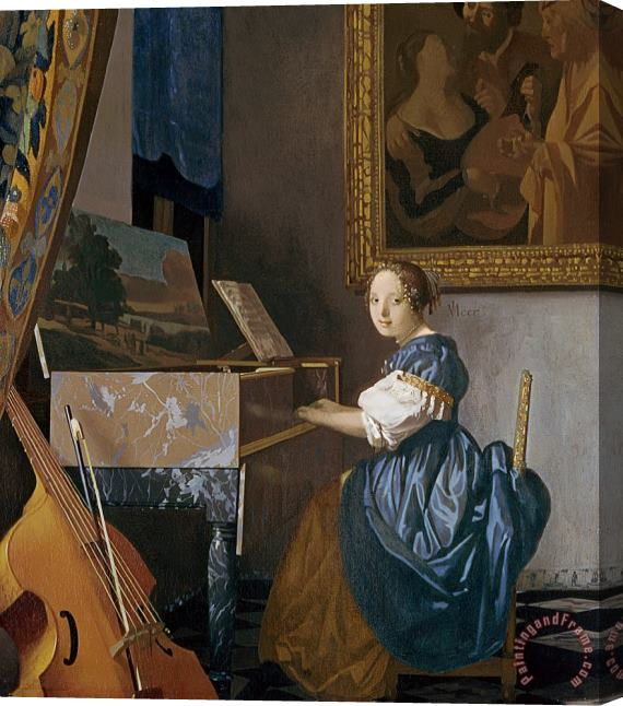Jan Vermeer A Young Lady Seated at a Virginal Stretched Canvas Print / Canvas Art