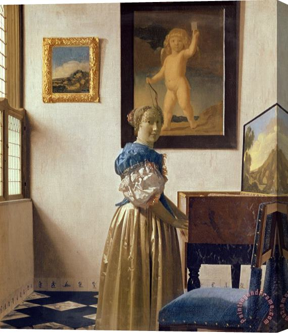 Jan Vermeer Lady standing at the Virginal Stretched Canvas Print / Canvas Art