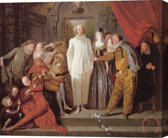 Jean Antoine Watteau Italian Actors Stretched Canvas Print / Canvas Art