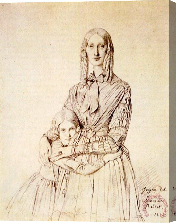 Jean Auguste Dominique Ingres Madame Frederic Reiset, Born Augustine Modest Hortense Reiset, And Her Daughter, Theres Hortense Marie Stretched Canvas Print / Canvas Art