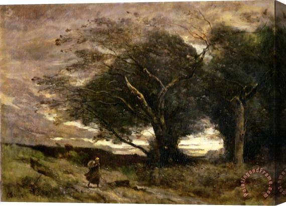 Jean Baptiste Camille Corot Gust of Wind Stretched Canvas Print / Canvas Art