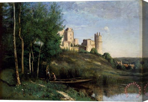 Jean Baptiste Camille Corot Ruins of the Chateau de Pierrefonds Stretched Canvas Print / Canvas Art