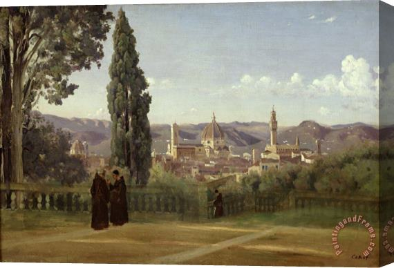 Jean Baptiste Camille Corot View of Florence from the Boboli Gardens Stretched Canvas Print / Canvas Art