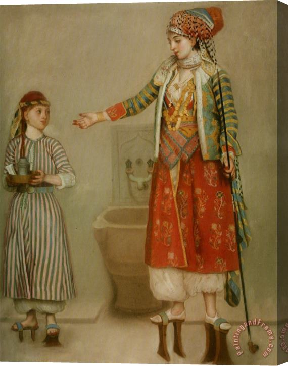 Jean-Etienne Liotard A Lady in Turkish Costume with Her Servant at The Hammam Stretched Canvas Print / Canvas Art