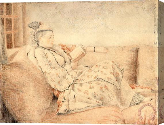Jean-Etienne Liotard Lady in Turkish Dress, Reading Stretched Canvas Print / Canvas Art