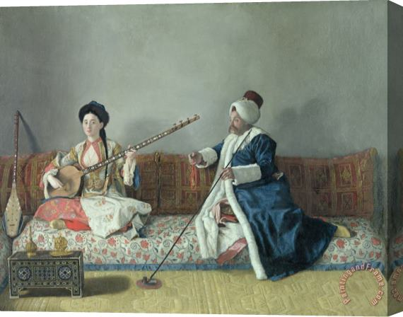 Jean-Etienne Liotard Monsieur Levett and Mademoiselle Helene Glavany in Turkish Costumes Stretched Canvas Print / Canvas Art