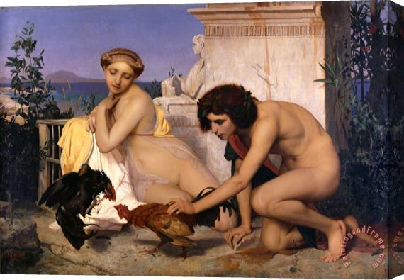 Jean Leon Gerome Young Greeks Attending a Cock Fight Stretched Canvas Print / Canvas Art