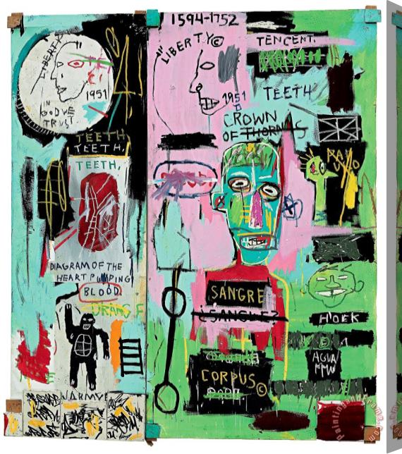 Jean-michel Basquiat In Italian Stretched Canvas Print / Canvas Art