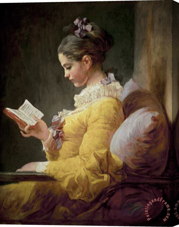 JeanHonore Fragonard Young Girl Reading Stretched Canvas Print / Canvas Art