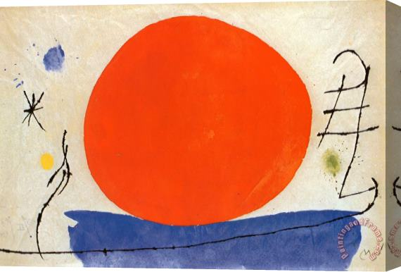 Joan Miro The Red Sun Stretched Canvas Print / Canvas Art