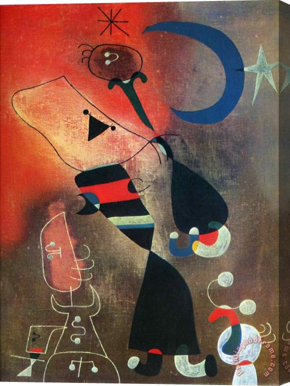 Joan Miro Woman And Bird in The Moonlight Stretched Canvas Print / Canvas Art