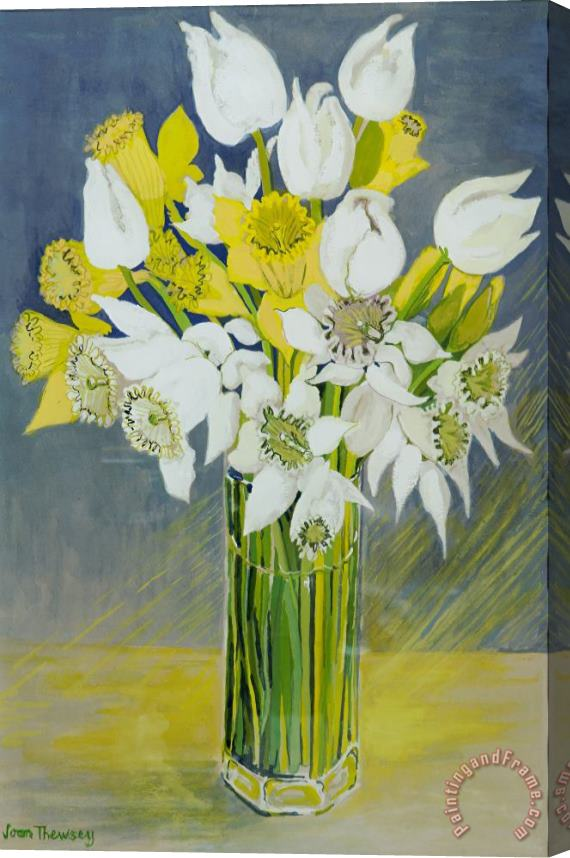 Joan Thewsey Daffodils And White Tulips In An Octagonal Glass Vase Stretched Canvas Print / Canvas Art