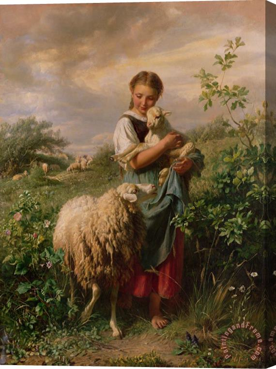 Johann Baptist Hofner The Shepherdess Stretched Canvas Print / Canvas Art