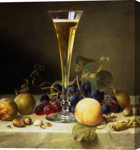 Johann Wilhelm Preyer Still Life With A Glass Of Champagne Stretched Canvas Print / Canvas Art