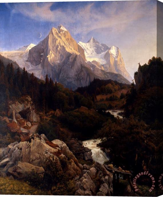Johann Wilhelm Schirmer The Wetterhorn Stretched Canvas Painting / Canvas Art