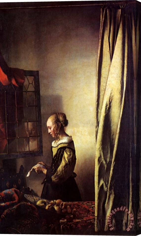 Johannes Vermeer Girl Reading a Letter at an Open Window Stretched Canvas Print / Canvas Art