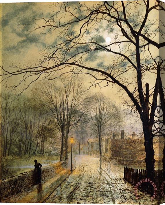 John Atkinson Grimshaw A Moonlit Stroll Bonchurch Isle Of Wight Stretched Canvas Print / Canvas Art