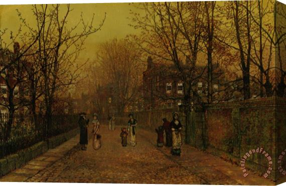 John Atkinson Grimshaw A Village Street on Sunday Eve Stretched Canvas Print / Canvas Art