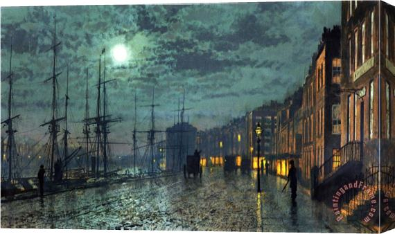 John Atkinson Grimshaw City Docks By Moonlight Stretched