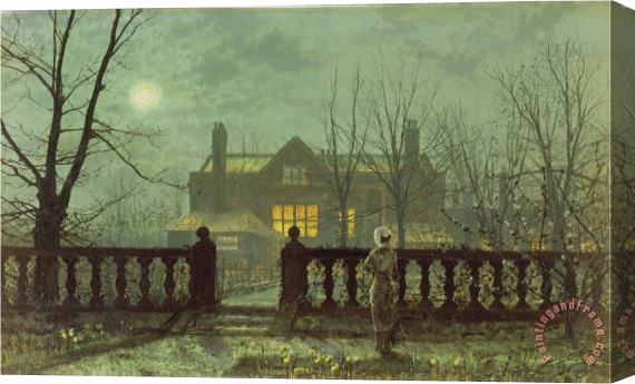 John Atkinson Grimshaw Garden in The Evening with View of an Illuminated House Stretched Canvas Print / Canvas Art