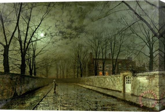 John Atkinson Grimshaw Silver Moonlight Stretched Canvas Print / Canvas Art
