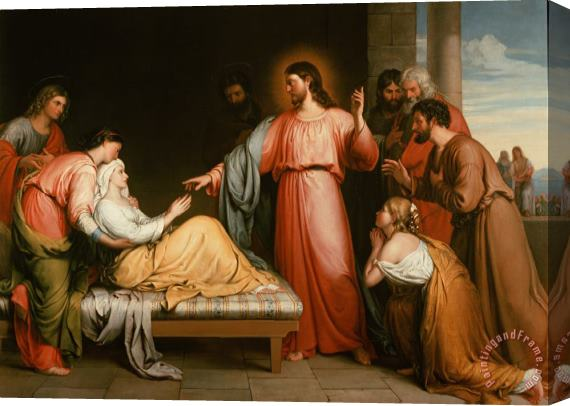 John Bridges Christ healing the mother of Simon Peter Stretched Canvas Print / Canvas Art