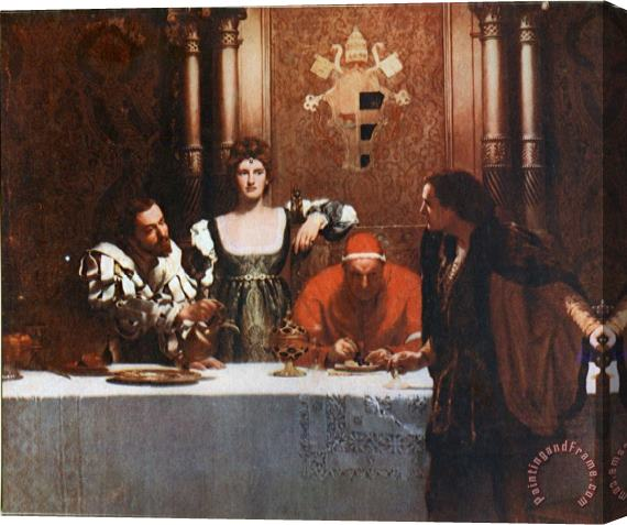 John Collier A Glass of Wine with Caesar Borgia Stretched Canvas Print / Canvas Art