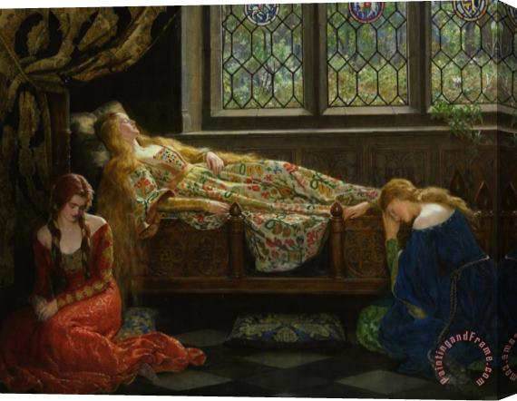 John Collier Sleeping Beauty Stretched Canvas Print / Canvas Art