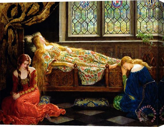 John Collier The Sleeping Beauty Stretched Canvas Print / Canvas Art