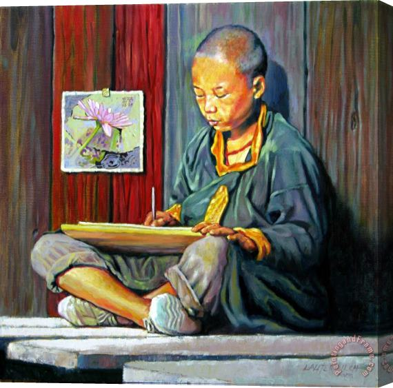 John Lautermilch Boy Painting Lilies Stretched Canvas Painting / Canvas Art
