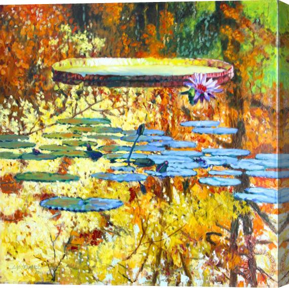 John Lautermilch Fall Colors on the Lily Pond Stretched Canvas Print / Canvas Art