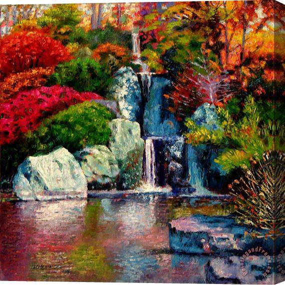 John Lautermilch Japanese Waterfall Stretched Canvas Print / Canvas Art