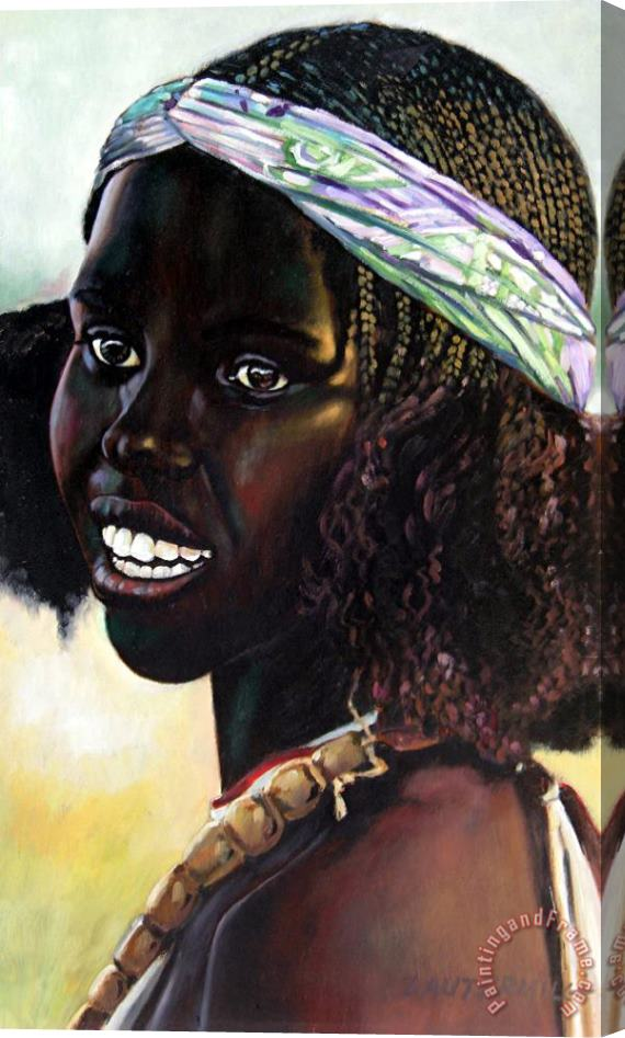 John Lautermilch Young Black African Girl Stretched Canvas Print / Canvas Art