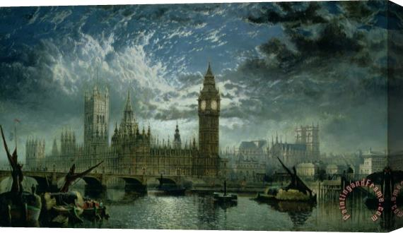 John MacVicar Anderson A View of Westminster Abbey and the Houses of Parliament Stretched Canvas Print / Canvas Art