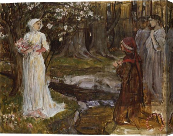 John William Waterhouse Dante And Beatrice Stretched Canvas Print / Canvas Art