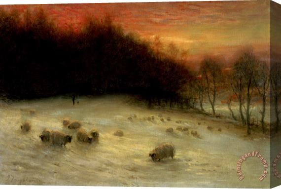Joseph Farquharson Sheep in a Winter Landscape Evening Stretched Canvas Print / Canvas Art
