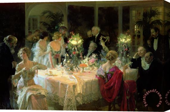 Jules Alexandre Grun The End of Dinner Stretched Canvas Print / Canvas Art
