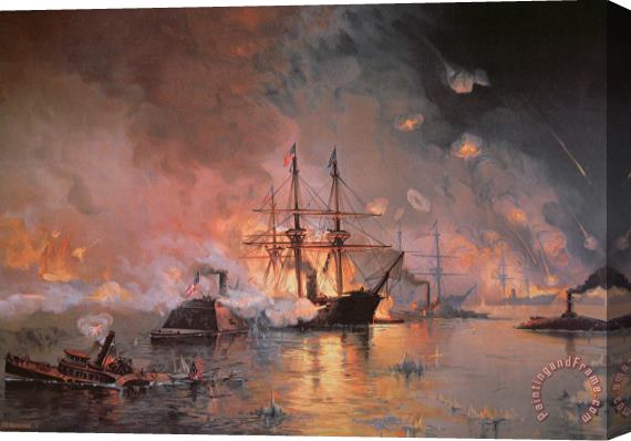 Julian Oliver Davidson Capture of New Orleans by Union Flag Officer David G Farragut Stretched Canvas Painting / Canvas Art