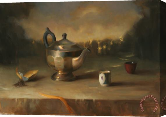 Juliette Aristides Silver Teapot Stretched Canvas Print / Canvas Art