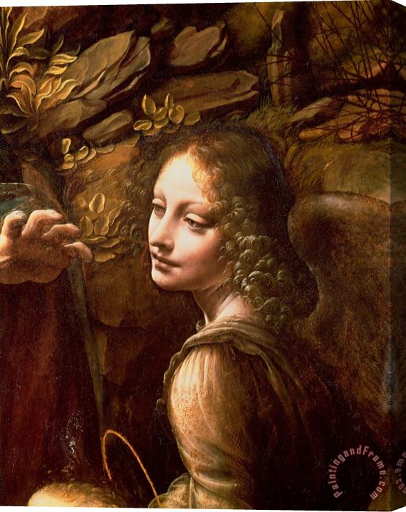 Leonardo Da Vinci Detail of the Angel from The Virgin of the Rocks Stretched Canvas Print / Canvas Art