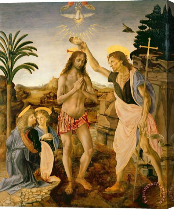 Leonardo da Vinci The Baptism Of Christ By John The Baptist Stretched Canvas Print / Canvas Art