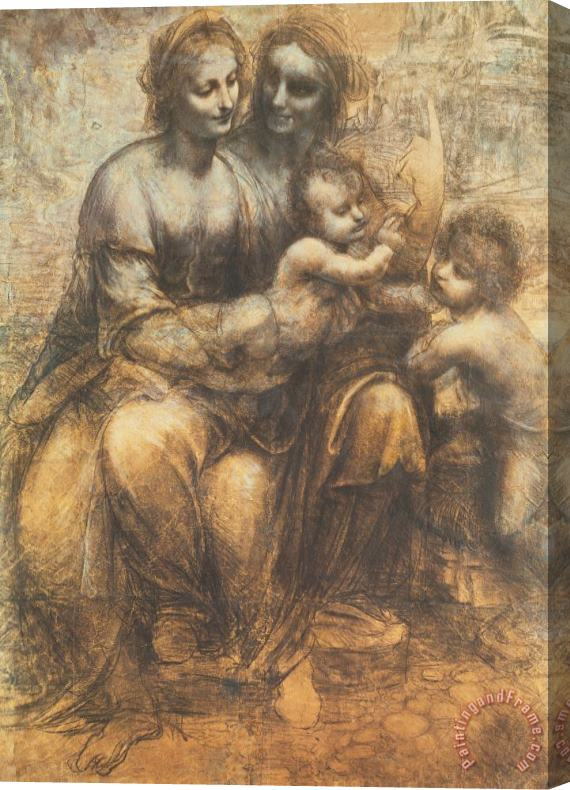 Leonardo da Vinci The Virgin And Child With Saint Anne And The Infant Saint John The Baptist Stretched Canvas Print / Canvas Art