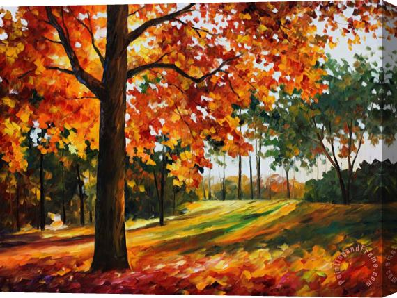 Leonid Afremov Autumn Forest Stretched Canvas Print / Canvas Art