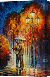 Surreal Canvas Prints - Kiss Under The Rain by Leonid Afremov